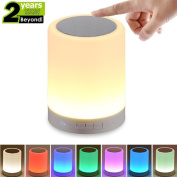 Bluetooth Speaker Lamp, Touch Control Night Light with RGB 7 Colour Bedside Lighting Music Wireless Speakerphone for Bedroom