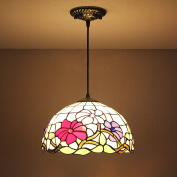 30cm Vintage Coloured Flower Stained Glass Tiffany Ceiling Lamp Pendant Lamp Living Room Light Hallway Lamp