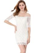Allegra K Women's Short Sleeve Slim Fit Sexy Dresses White