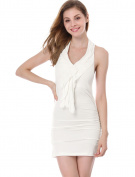 Allegra K Women's Ruffled Halter Neck Slim Fit Ruched Dress White
