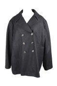 Kenneth Cole Plus Size Black Double-Breasted Peacoat 2X