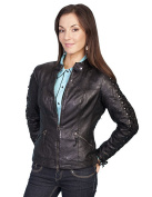 Scully Western Jacket Womens Leather Lined Fitted Zipper L411