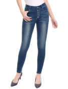 Unique Bargains Juniors Button Fly Mid Rise Stretch Washed Skinny Jeans Blue