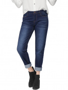 Unique Bargains Juniors Button Closure Zip Fly Pockets Boyfriend Jeans Blue