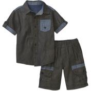 Blac Label Little Boys 2 Piece 2-Toned Chambray Shirt & Chambray Cargo Shorts Set