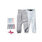 youth pin stripe baseball/softball pants (medium weight, double knees, zipper, belt loops, back pocket) (grey/black pinstripes, youth large