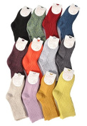 Lian LifeStyle Boy's 10 Pairs Pack Cashmere Wool Crew Socks Solid Size 12-15CM/1Y-2Y