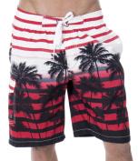 Men's Casual Beachwear Big Coconut Trees Board Shorts Swim trunks, Red, M