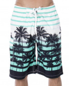 Men's Casual Beachwear Big Coconut Trees Board Shorts Swim trunks, Blue, L