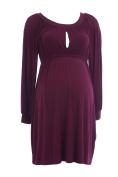 OLIAN Maternity Women's Keyhole Front Gathered Dress X-Small Wine