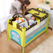 Baby Crib Playpen Playard Pack Travel Infant Bassinet Bed Foldable Green