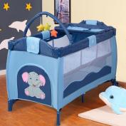 Baby Crib Playpen Playard Pack Travel Infant Bassinet Bed Foldable Blue
