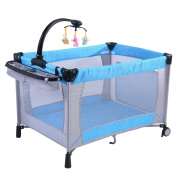 Baby Playard PlayPen Bassinet Foldable Crib Newborn Infant Travel Changing Bed-Light Blue