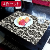 Luncheon mat [natural a black X] [set-10807] of the water hyacinth