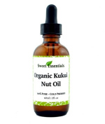 100% Organic Kukui Nut Oil | Imported From Hawaii | 60ml Glass Bottle | Glass Dropper | Natural Moisturiser for Skin, Hair and Face | By Sweet Essentials