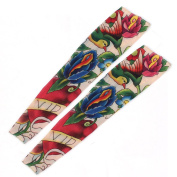 Multicolor Birds Pattern Sun Protection Temporary Tattoo Arm Sleeve 2 Pcs