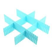 Unique Bargains 4pcs Home Storage Blue Plastic Drawer Closet Grid Divider Tidy Organiser Container