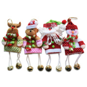 4 Pcs Christmas Tree Ornaments With Jingle Bells Christmas Decoration