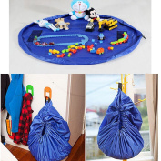 Children's Play Mat Toys Storage Bag and Floor Activity Mat/Toys Organiser Quick Pouch-Blue
