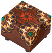Polish Handmade Wooden Trick Secret Puzzle Box Floral Keepsake Jewellery Box