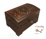Large Wooden Floral Chest Box w/ Lock and Key Beautiful Polish Handmade Linden Wood Keepsake
