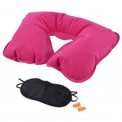 U Shape Pillow Sleeping Relax Inflatable Neck Eyes Mask Earphone Fuchsia 3 in 1