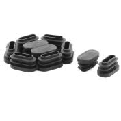Plastic Oval 29mm x 14mm Anti-slip Chair Foot Cover Table Furniture Leg Protector Black 10 Pcs