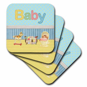 3dRose Baby Room with Baby in Bassinet, Rocking Horse, and Quilt on Baby Bed, Soft Coasters, set of 4