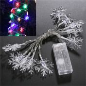 10 LED Battery Operated Snowflake Shaped Christmas String Light Festival Party Wedding Decor