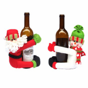 2 Pcs Red Wine Bottle Cover Santa Claus Snowman Home Christmas Decoration Wine Bottles Hold Covers