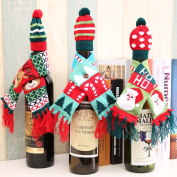 6 pcs/set 3 Scarfs + 3 Hats Knitted Red Wine Bottle Decoration Novelty Scarf Bear Tassel Santa Claus Hat For Christmas Decorations