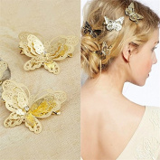 Qingsun 4 Pcs Women Hair Clips Hollow Butterfly Hairpins Clamps Vintage Hair Ornaments Wedding Party Hair Accessories Gold