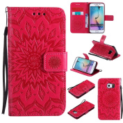 Galaxy S6 Edge Case, Dfly Premium Soft PU Leather Embossed Mandala Design Kickstand Card Holder Slot Slim Flip Protective Wallet Cover for Samsung Galaxy S6 Edge, Red