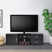 Wooden Single-door TV Stand Storage Console with two Drawers