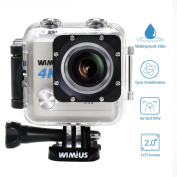 WIMIUS Waterproof Camera 4K 20MP Sports Action Camera WiFi 1080P HD Underwater Camera 5.1cm LCD Bike Motorcycle Helmet Camera with 2 Batteries and Accessories for Surfing Diving Swimming Skiing