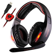 Sades SA902 7.1 Channel Virtual USB Surround Stereo Wired PC Gaming Headset Over Ear Laptop Headphones with Mic Revolution Volume Control Noise Cancelling LED Light