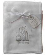 Baby Boys Girls White and Silver Christening Wrap Blanket 100cm x 75cm approx