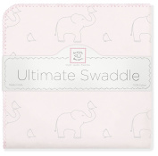 SwaddleDesigns Ultimate Swaddle Blanket, Premium Cotton Flannel, Sterling Deco Elephants on Sunwashed Pink