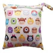 Albeey Baby Waterproof Zipper Bag Washable Reusable Baby Cloth Nappy Bag Animals Pattern