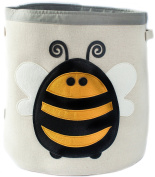 Grey Bee Animal Theme Large Collapsible Canvas Fabric Storage Bin | Play room or Nursery Hamper, toy box | Yellow Bee