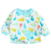 Pueri Baby Infant Bib Lovely Cute Cartoon Pattern Waterproof Apron with Long Sleeve for Feeding and Painting