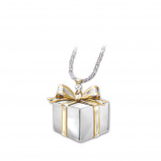 The Bradford Exchange 'Gift of Love' - Pendant - Shaped Like a Gift with Bow - Sterling Silver with 24K Gold Plating