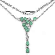 Schmuck-Schmidt-Edles Collier/Kette mit Smaragd (Emerald)-925 Silber-Rhodiniert-4,50 Karat