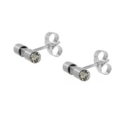 Charlotte Valkeniers Gold Plated Round Crystal Bar Ear Studs