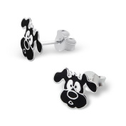 Silvadore - 925 Sterling Silver Childrens Stud Earrings - Dog Pet Animal Cute Face Black - Butterfly Clasp - .