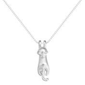 iszie jewellery sterling silver sweet little kitten necklace,cat pendant necklace for girl