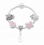 8th Birthday Silver Plated Charm Bracelet for Girls Presented in High Quality Gift Pouch
