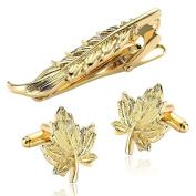 Daesar Men's Stainless Steel Tie Clip Cufflink Set Gold Leaf Cufflink