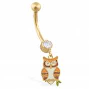 MsPiercing 14K Yellow Gold Jewelled Belly Ring With Dangling Owl Charm