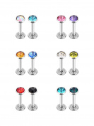 12 Pieces 16 Gauge Lip Rings Stainless Steel Nose Studs Cubic Zirconia Tragus Labret Bars Body Piercing, 12 Colours